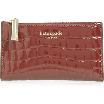 Kate Spade New York Sylvia Croc Embossed Leather Slim Bifold Wallet - Burgundy
