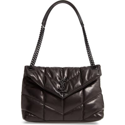 Saint Laurent Medium Loulou Quilted Puffer Leather Shoulder Bag - Black