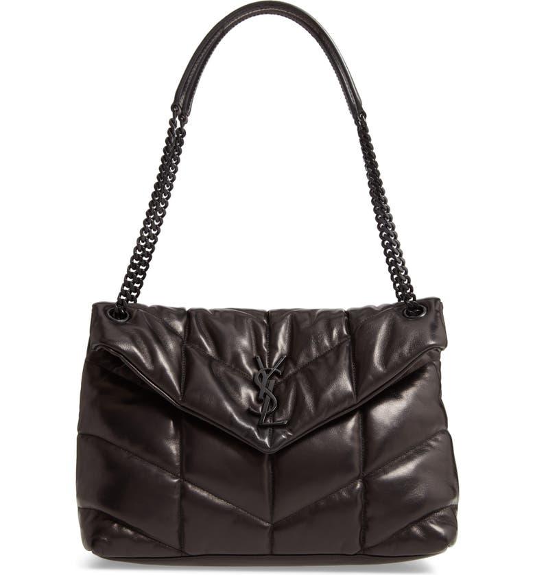 SAINT LAURENT Medium Loulou Quilted Puffer Leather Shoulder Bag, Main, color, NOIR
