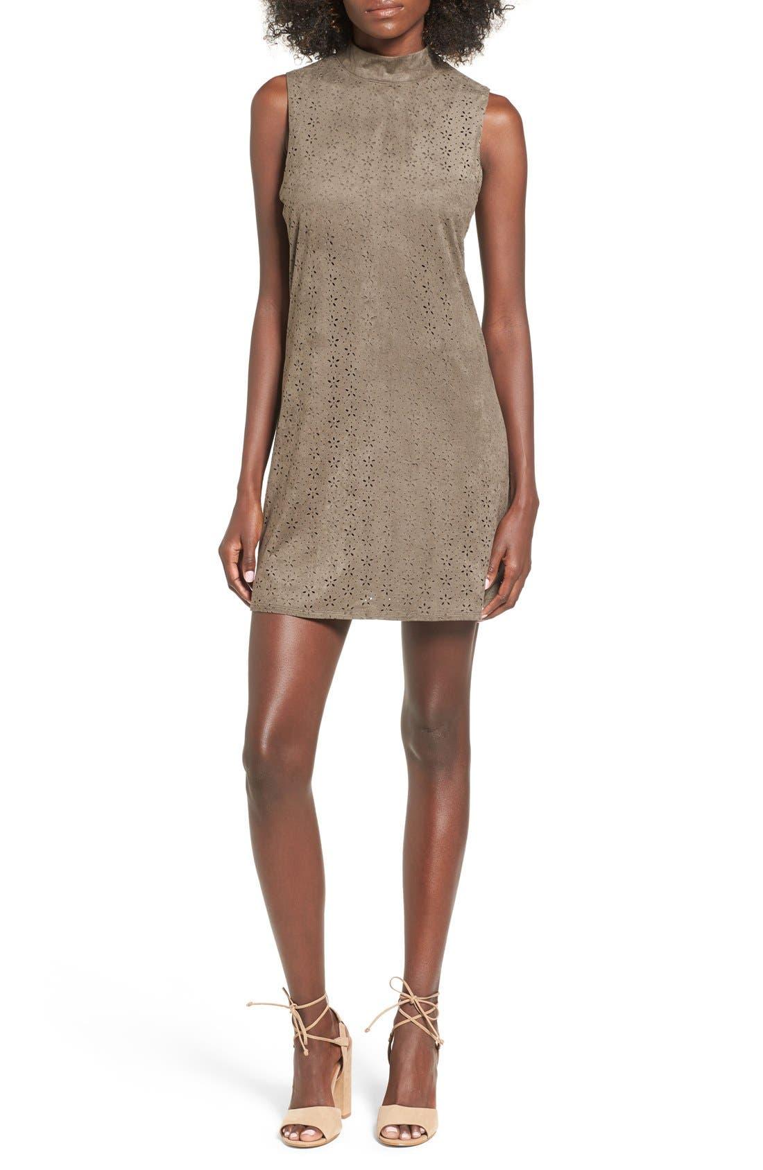 High Neck Faux Suede Shift Dress, Main, color, 310