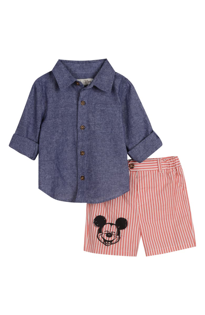 LITTLE BROTHER BY PIPPA & JULIE x Disney Mickey Mouse Chambray Shirt & Shorts Set, Main, color, DENIM