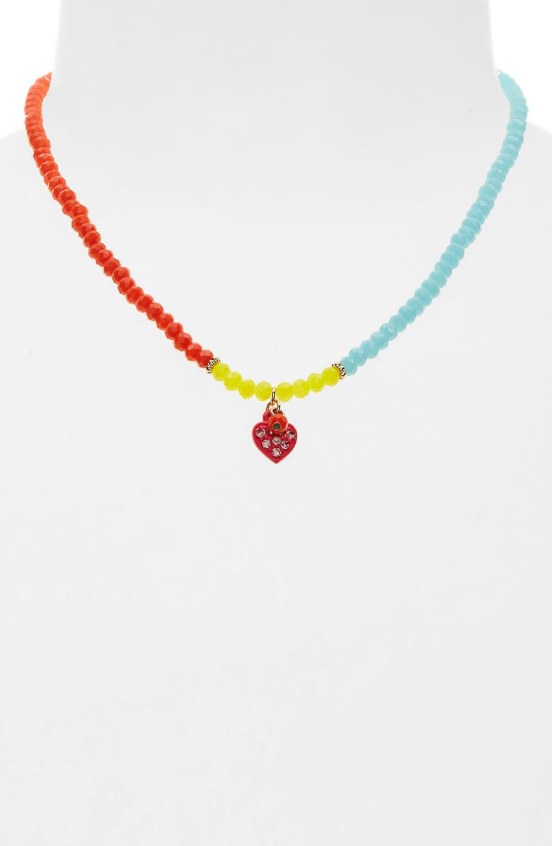 CARA Beaded Heart Charm Necklace, Main, color, MULTI