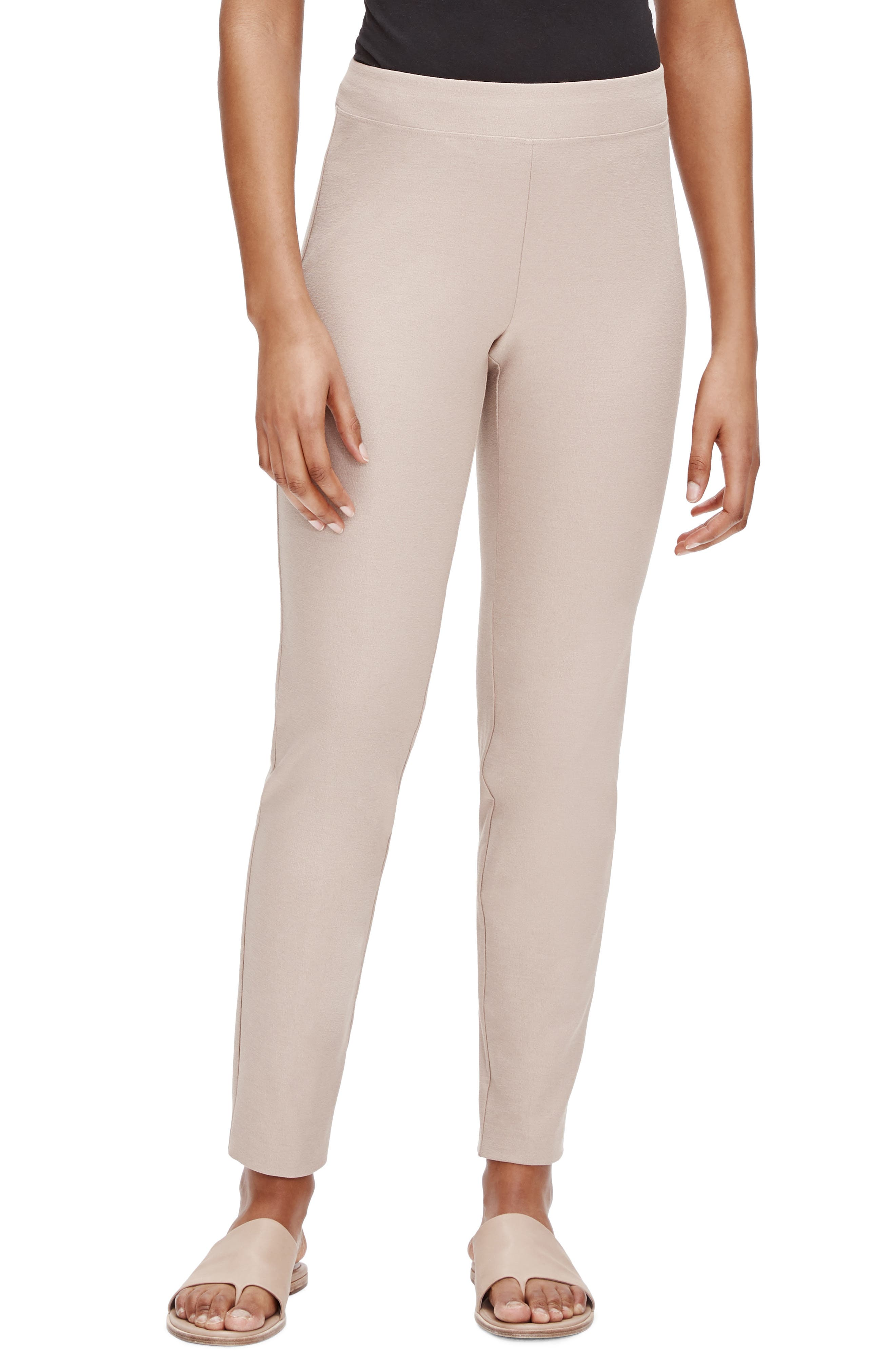 Women's Eileen Fisher Stretch Crepe Slim Ankle Pants,  X-Large - Beige