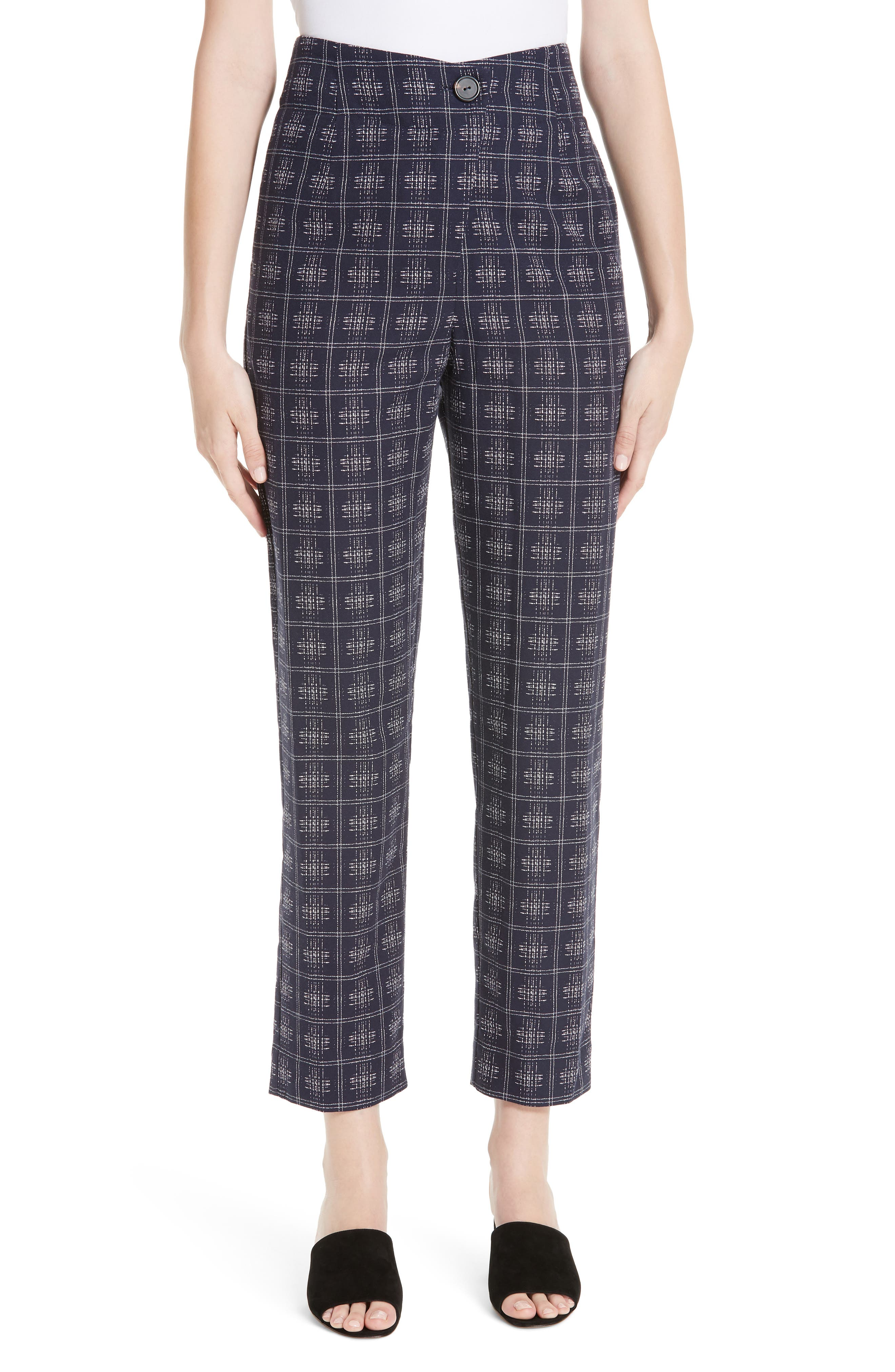 ,                             Fractured Trousers,                             Main thumbnail 1, color,                             NAVY CROSSHATCH CHECK