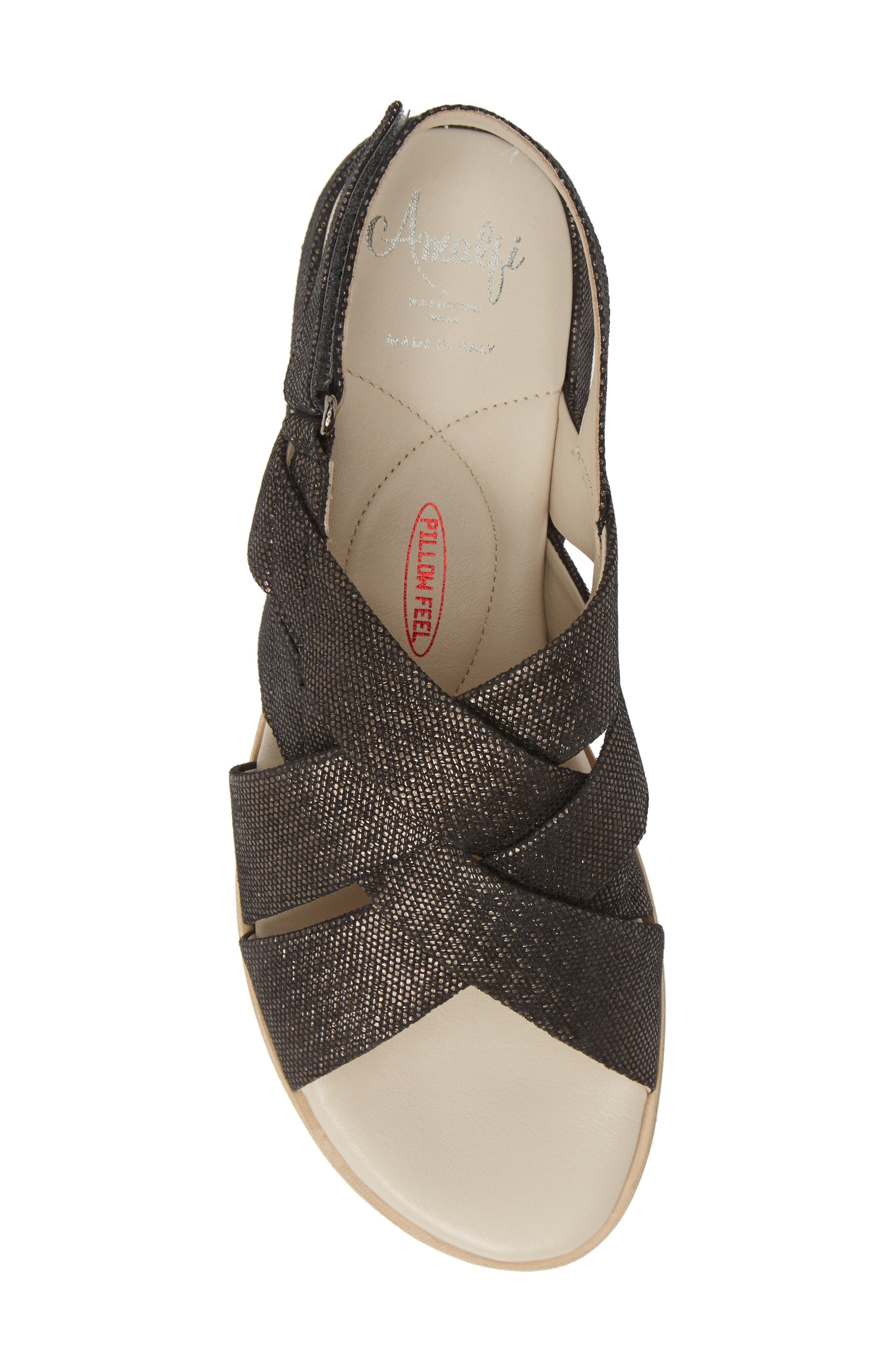 ,                             Biondina Textured Sandal,                             Alternate thumbnail 6, color,                             GRAPHITE LEATHER