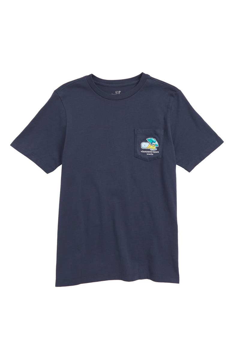 VINEYARD VINES Seattle Whale Graphic Pocket T-Shirt, Main, color, BLUE BLAZER