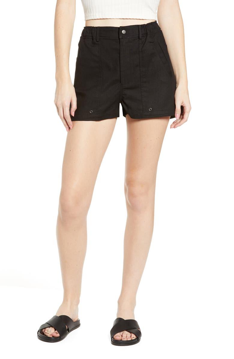 LIRA CLOTHING Ariana Linen & Cotton Shorts, Main, color, BLACK