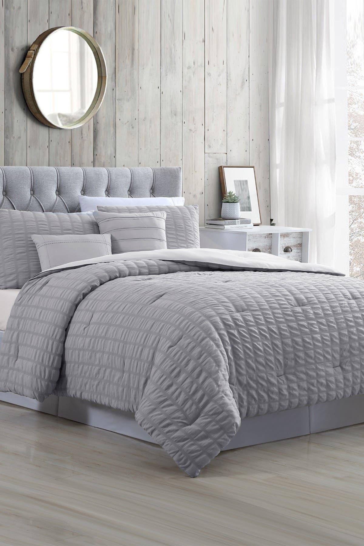 Modern Threads 5 Piece Seersucker Comforter Set Kane Grey King Hautelook