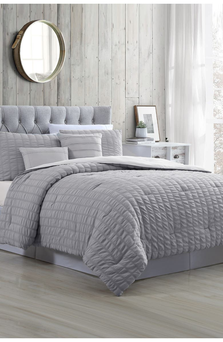 MODERN THREADS 5-Piece Seersucker Comforter Set - Kane Grey - King, Main, color, GREY