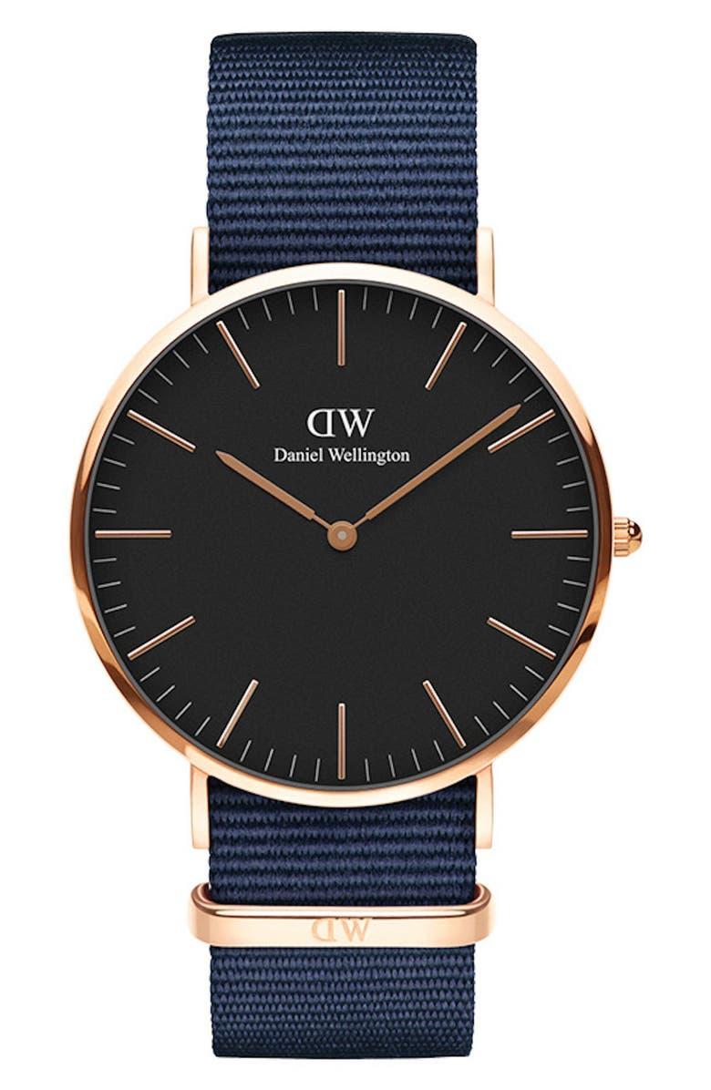 DANIEL WELLINGTON Classic Nylon Strap Watch, 40mm, Main, color, BLUE/ BLACK / ROSE GOLD