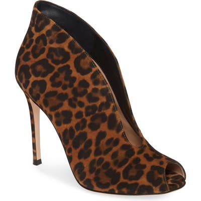 Gianvito Rossi Peep Toe Bootie, Brown