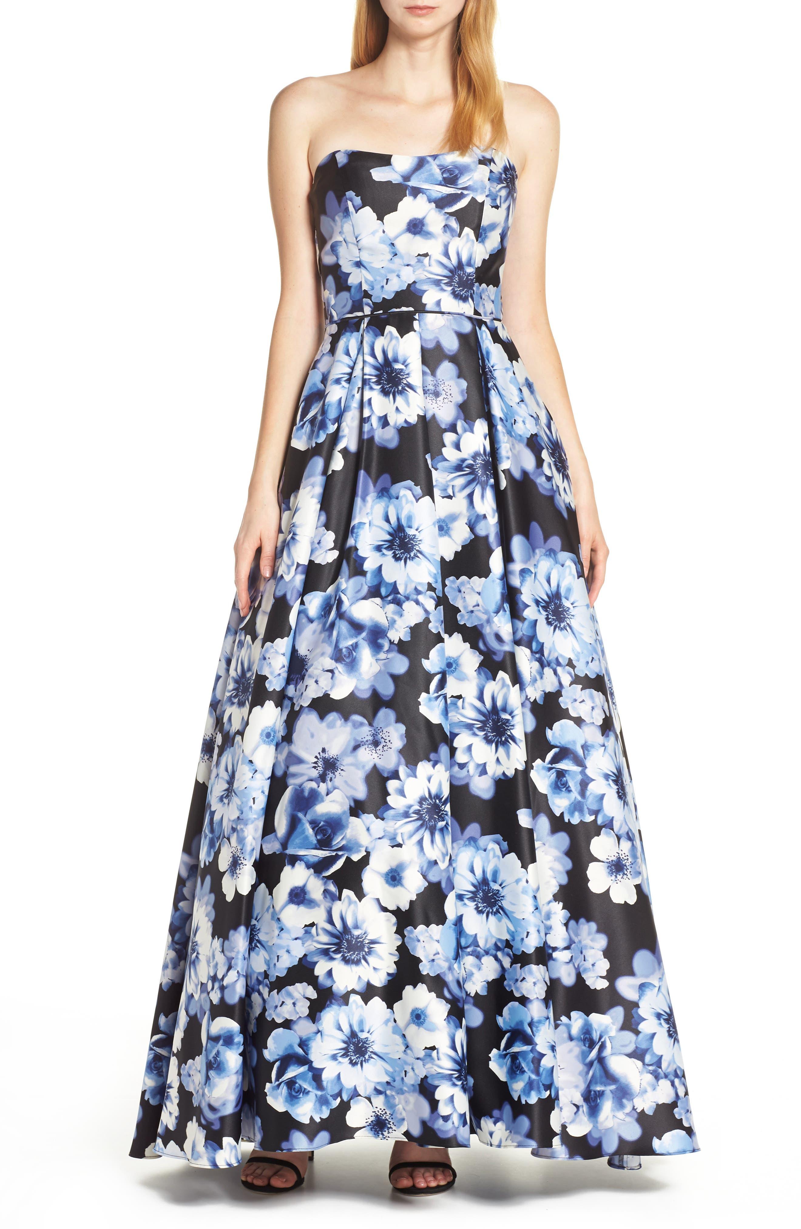 Blondie Nites Floral Print Strapless Satin Evening Dress, Blue