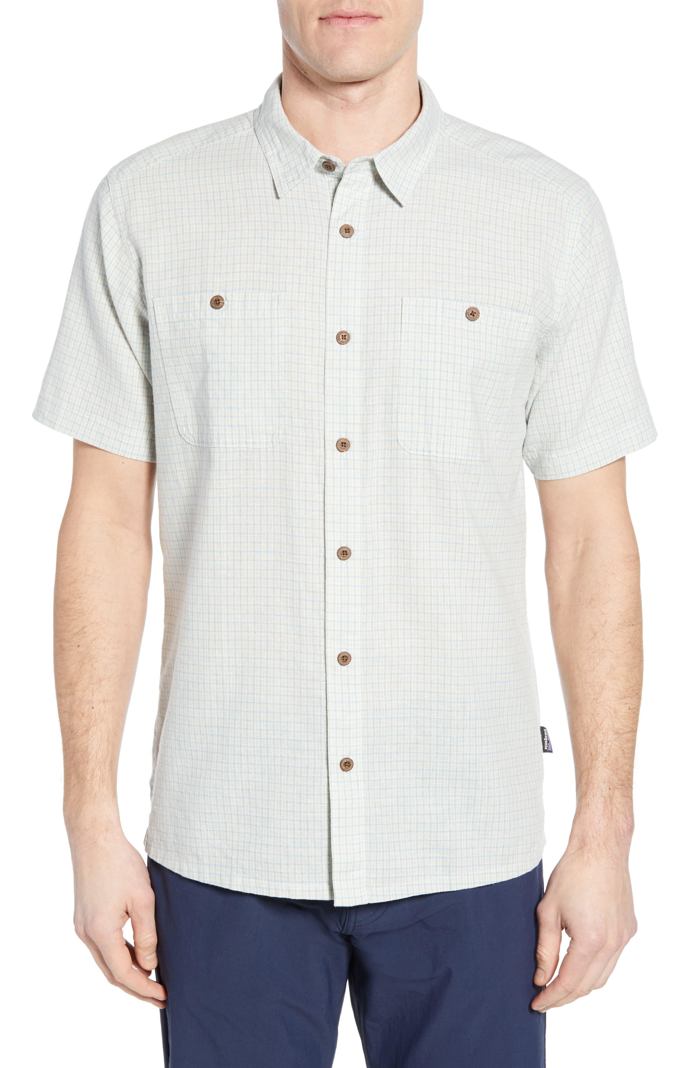 Patagonia Back Step Regular Fit Short Sleeve Sport Shirt, Grey