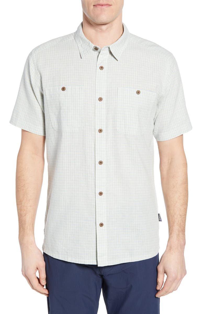 PATAGONIA Back Step Regular Fit Short Sleeve Shirt, Main, color, OWENS: ATOLL BLUE