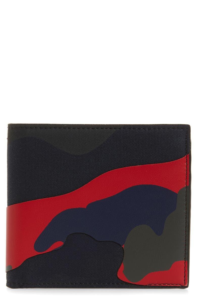 VALENTINO Camo Overlay Wallet, Main, color, MARINE/ SCARLET