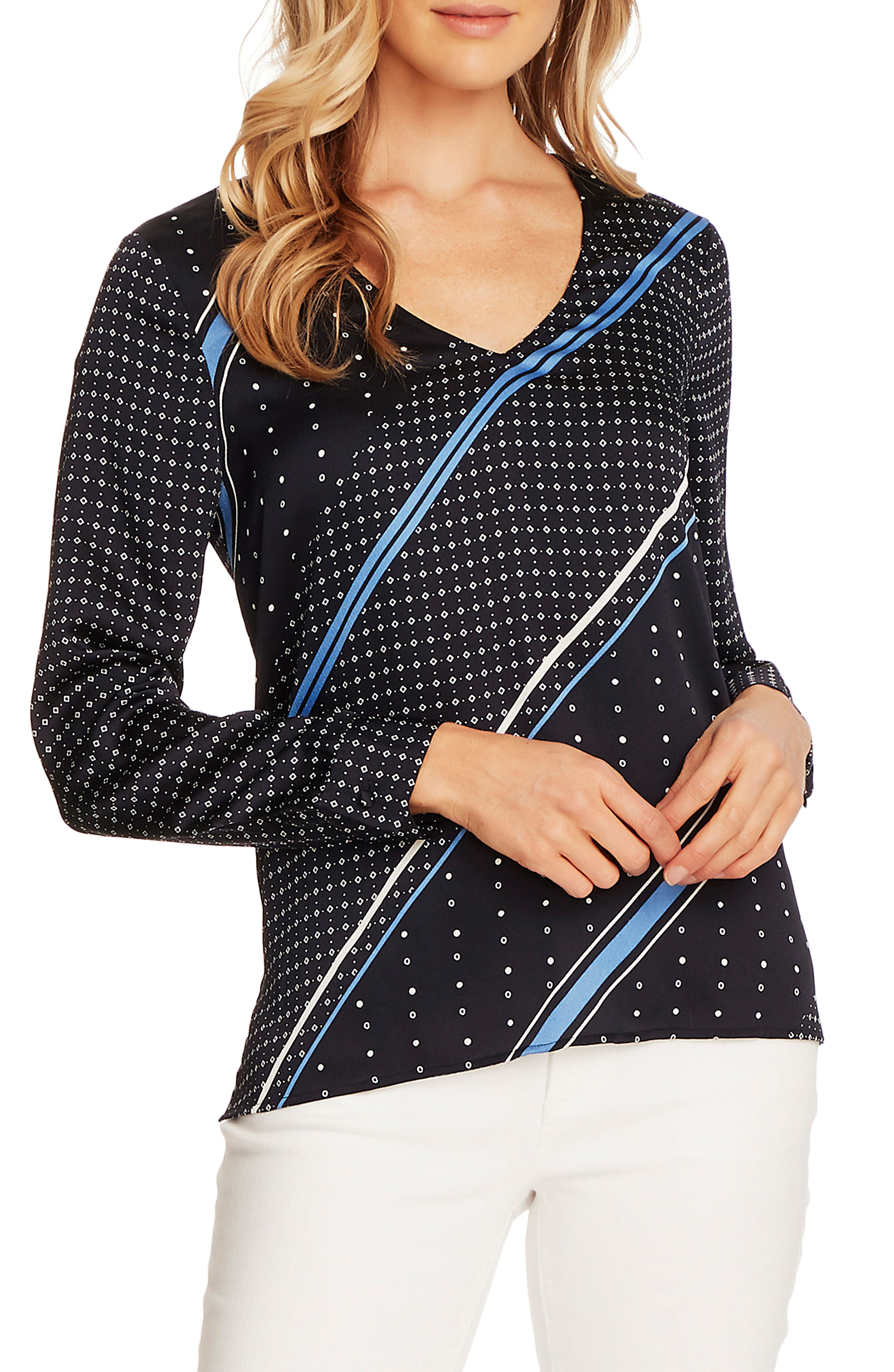 Image of Vince Camuto Stripe Geo Print Long Sleeve Hammer Satin Top