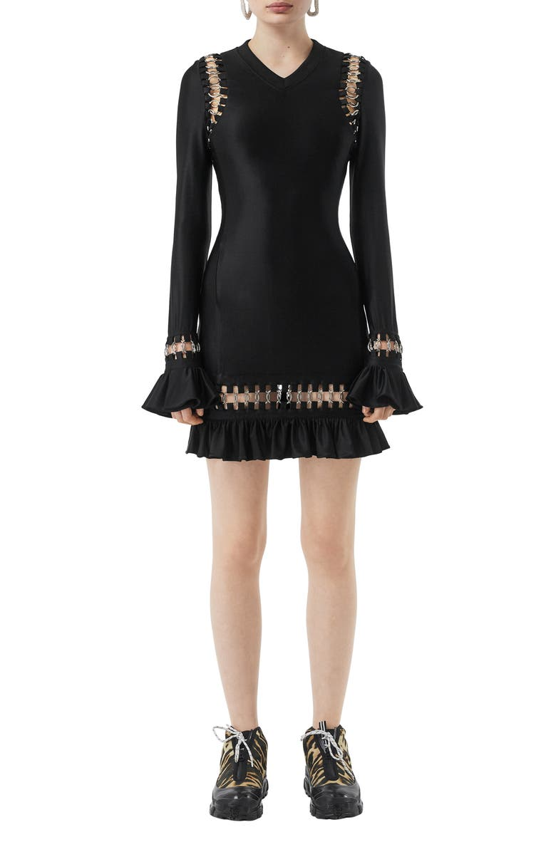 BURBERRY Ring Embellished Ruffle Long Sleeve Minidress, Main, color, BLACK