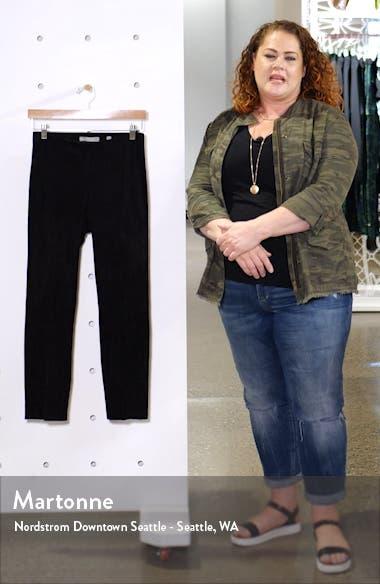 Split Hem Crop Stretch Suede Pants, sales video thumbnail