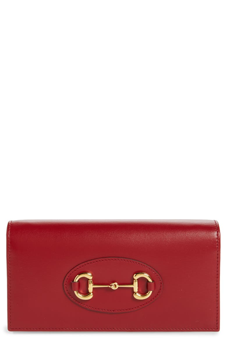 GUCCI 1955 Horsebit Leather Wallet on a Chain, Main, color, 600