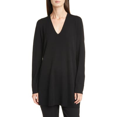 Eileen Fisher Long Sleeve Merino Wool Sweater, Black