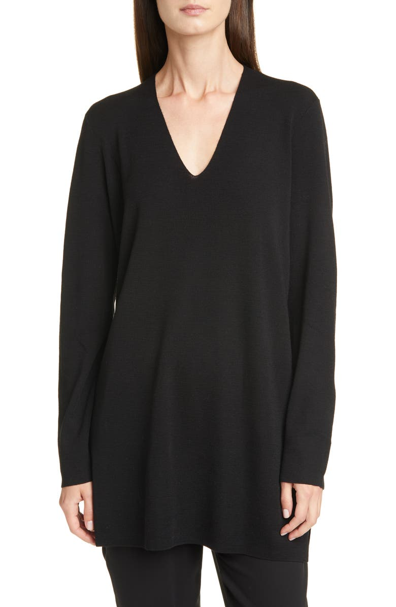 EILEEN FISHER Long Sleeve Merino Wool Sweater, Main, color, BLACK