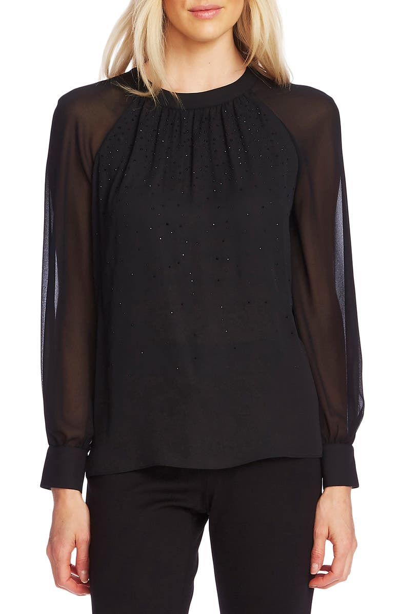 VINCE CAMUTO Embellished Front Chiffon Sleeve Top, Main, color, RICH BLACK