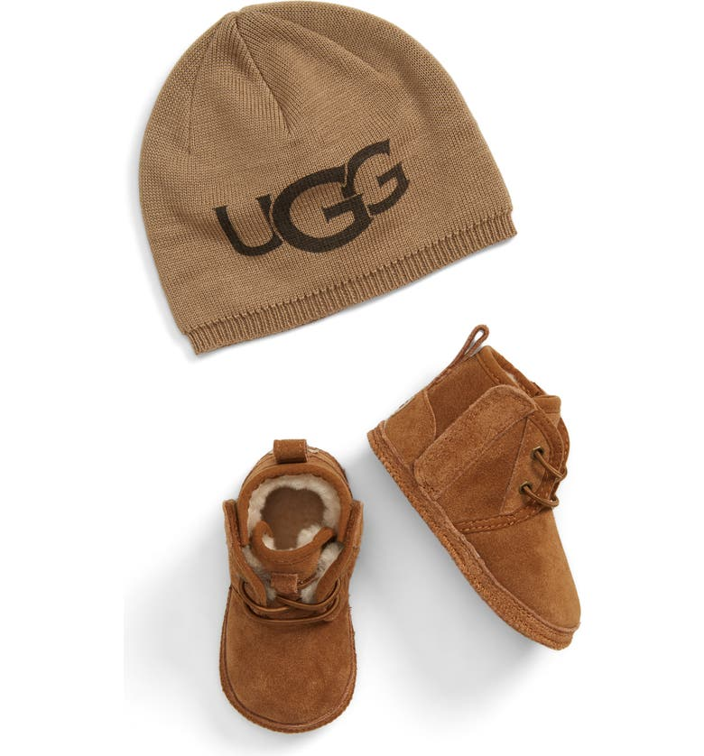 UGG<SUP>®</SUP> Baby Neumel Boot & Beanie Set, Main, color, CHESTNUT