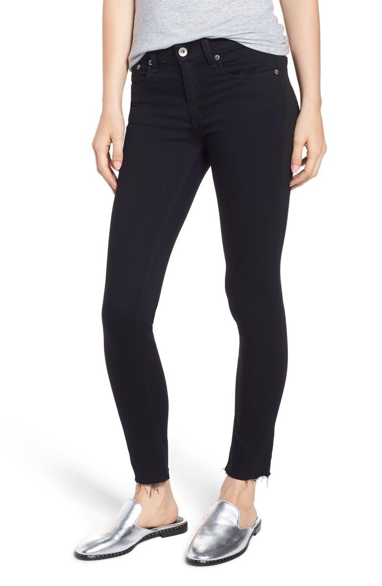 RAG & BONE Raw Hem Ankle Skinny Jeans, Main, color, BLACK RAW HEM