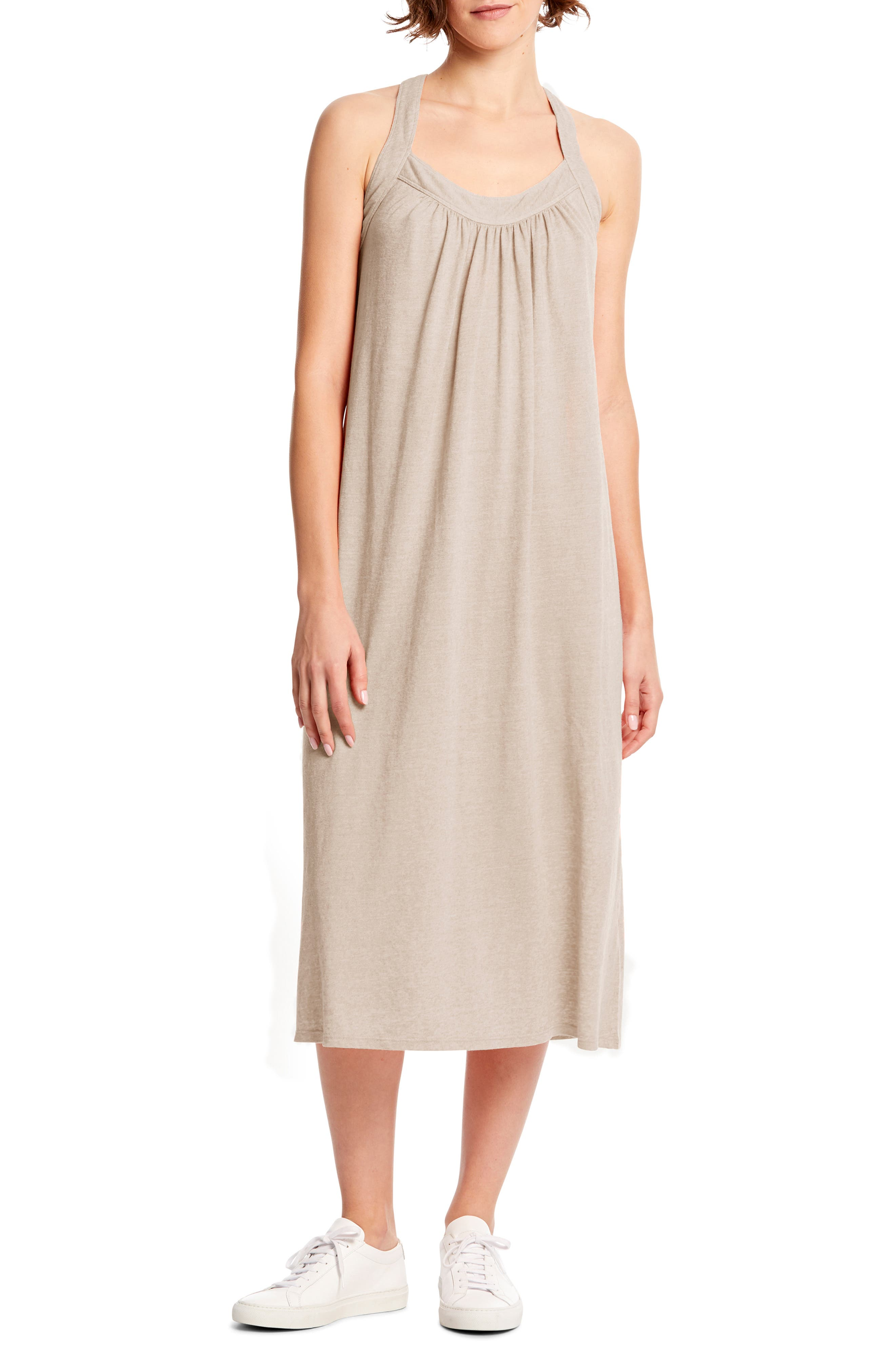 Michael Stars Margo Crossback Linen Blend Midi Dress, Beige