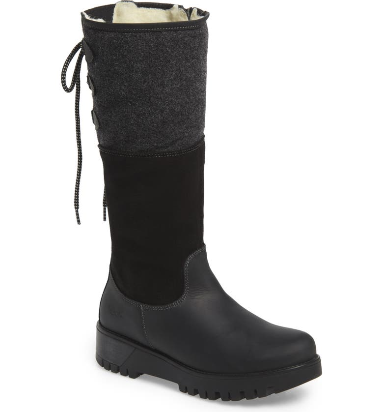 BOS. & CO. Goose Waterproof Boiled Wool Mid Calf Boot, Main, color, BLACK LEATHER