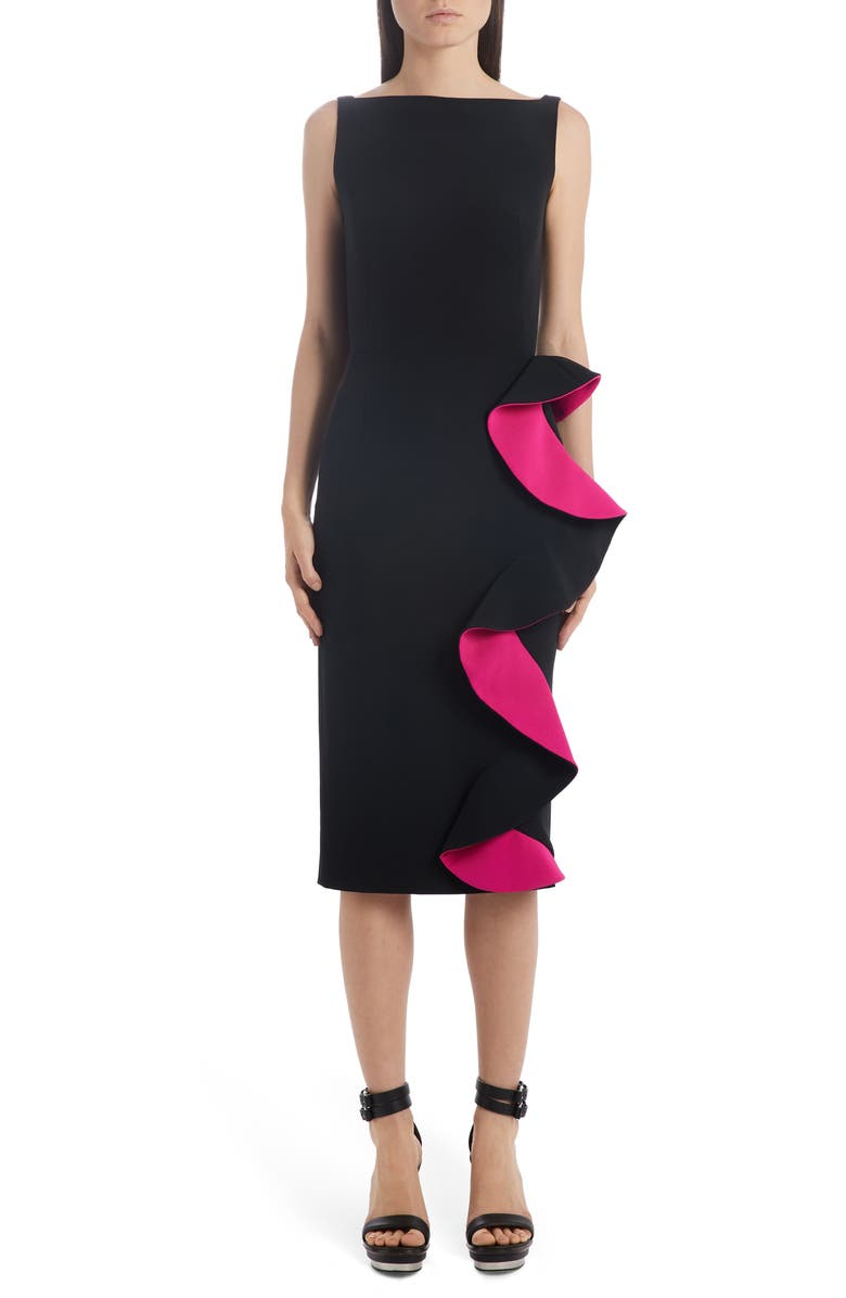 ALEXANDER MCQUEEN Contrast Ruffle Trim Sheath Dress, Main, color, BLACK/ ORCHID PINK