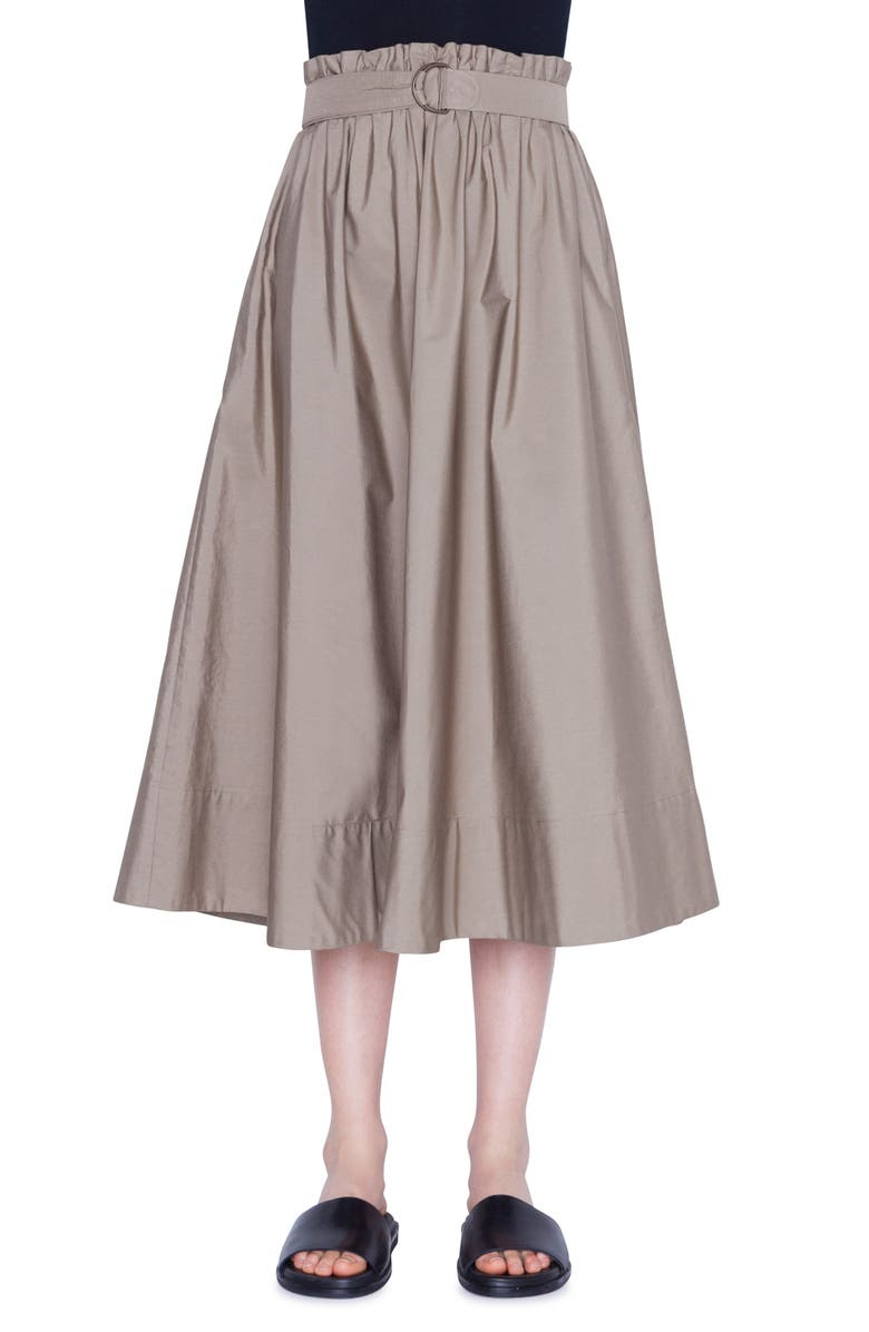 AKRIS PUNTO Belted Paperbag Waist Midi Skirt, Main, color, KHAKI