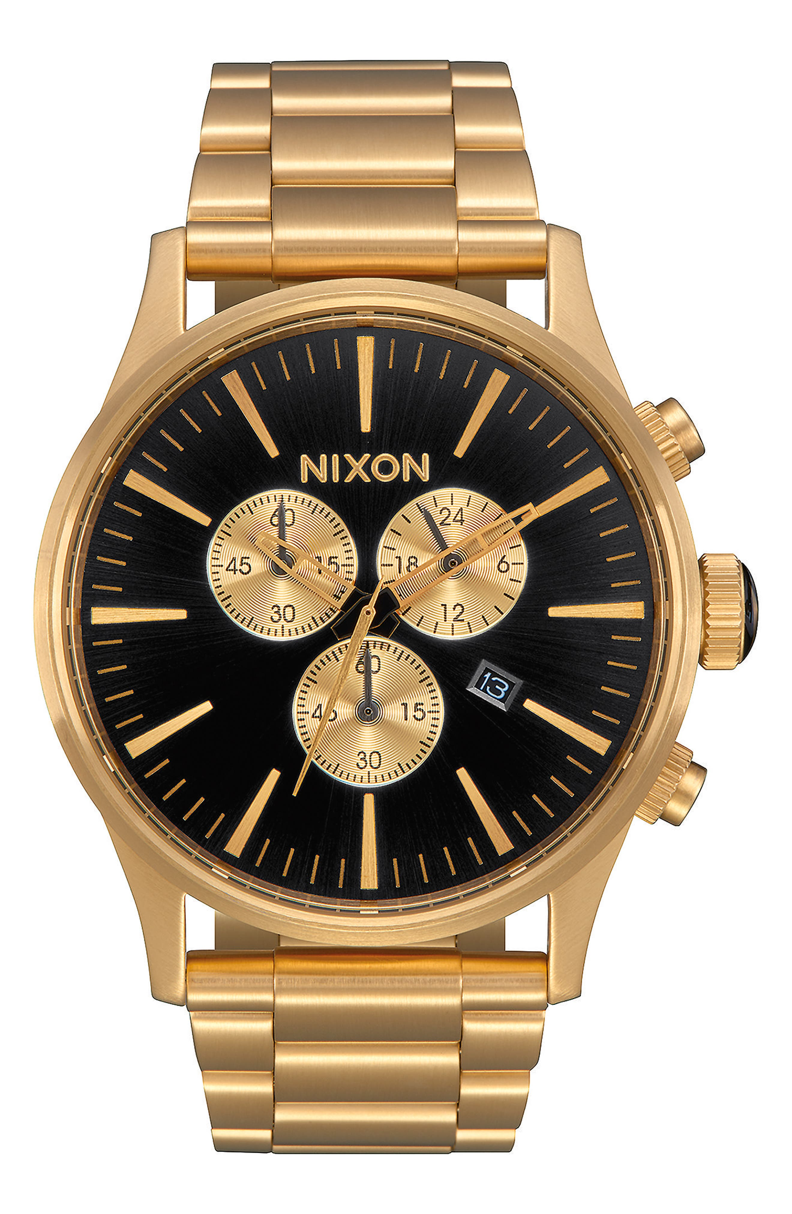 'The Sentry' Chronograph Bracelet Watch, 42mm, Main, color, GOLD/ BLACK/ GOLD