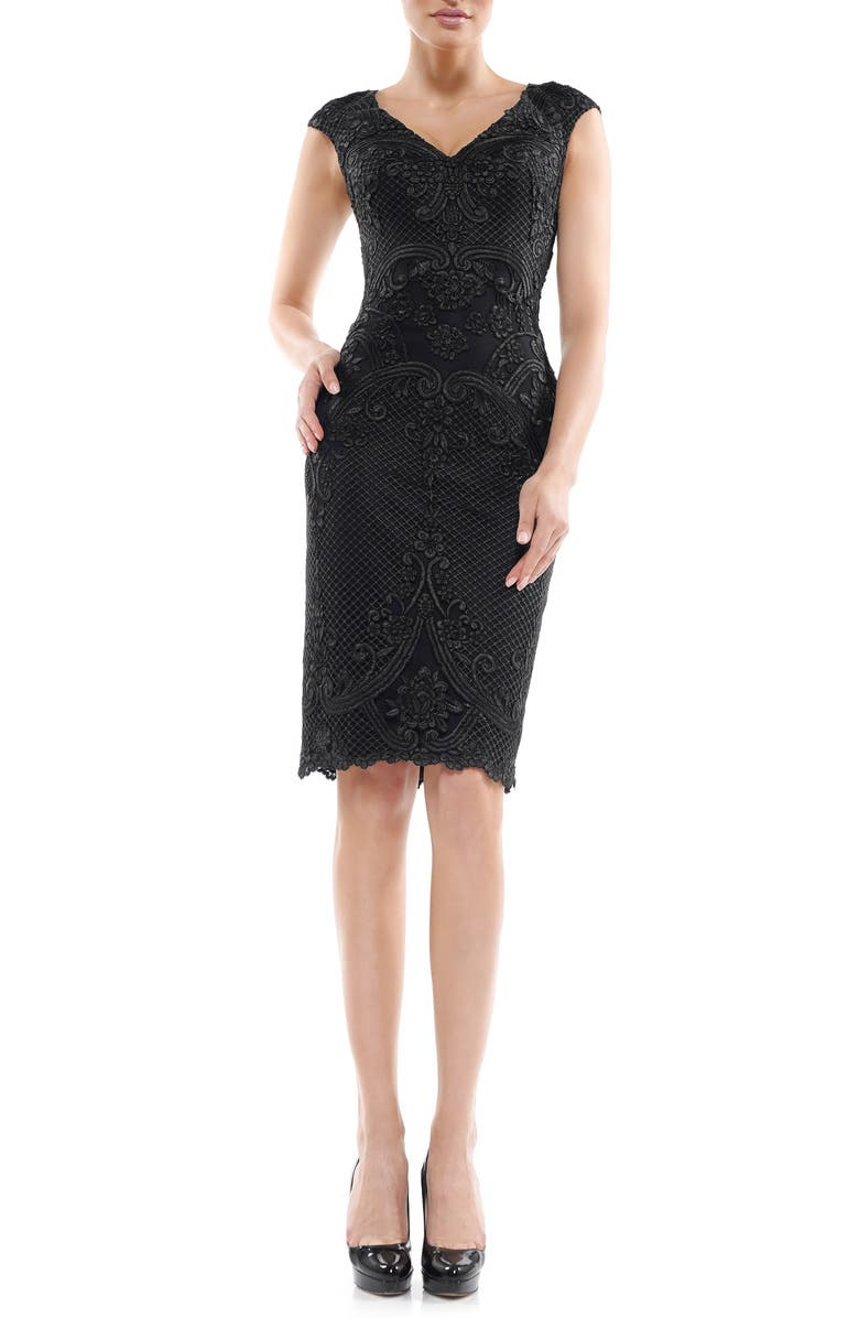 MARSONI Embroidered Cocktail Dress, Main, color, BLACK