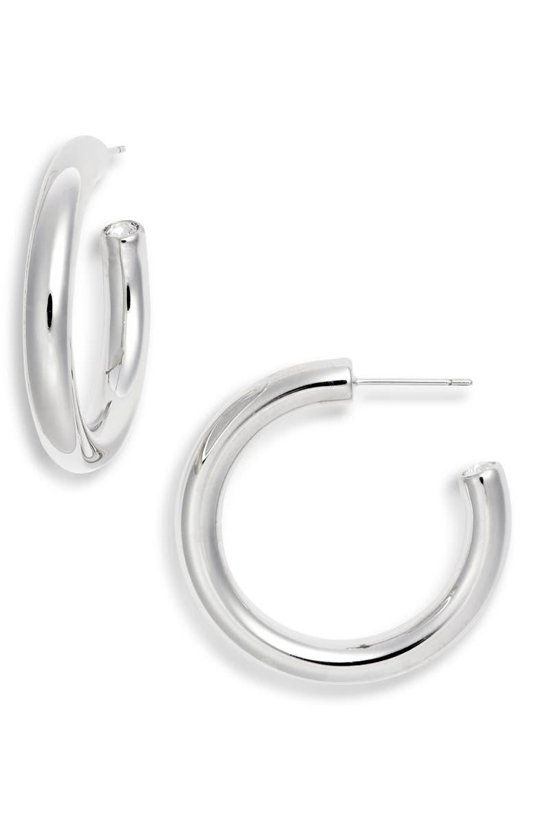 KENDRA SCOTT Colette Hoop Earrings, Main, color, RHODIUM/ WHITE CZ