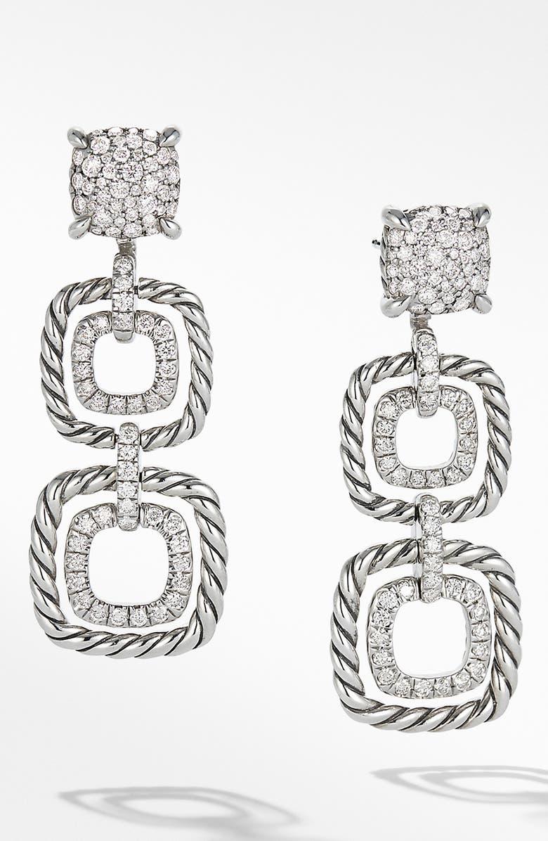 DAVID YURMAN Chatelaine Full Pavé Triple Drop Earrings, Main, color, SILVER/ DIAMOND