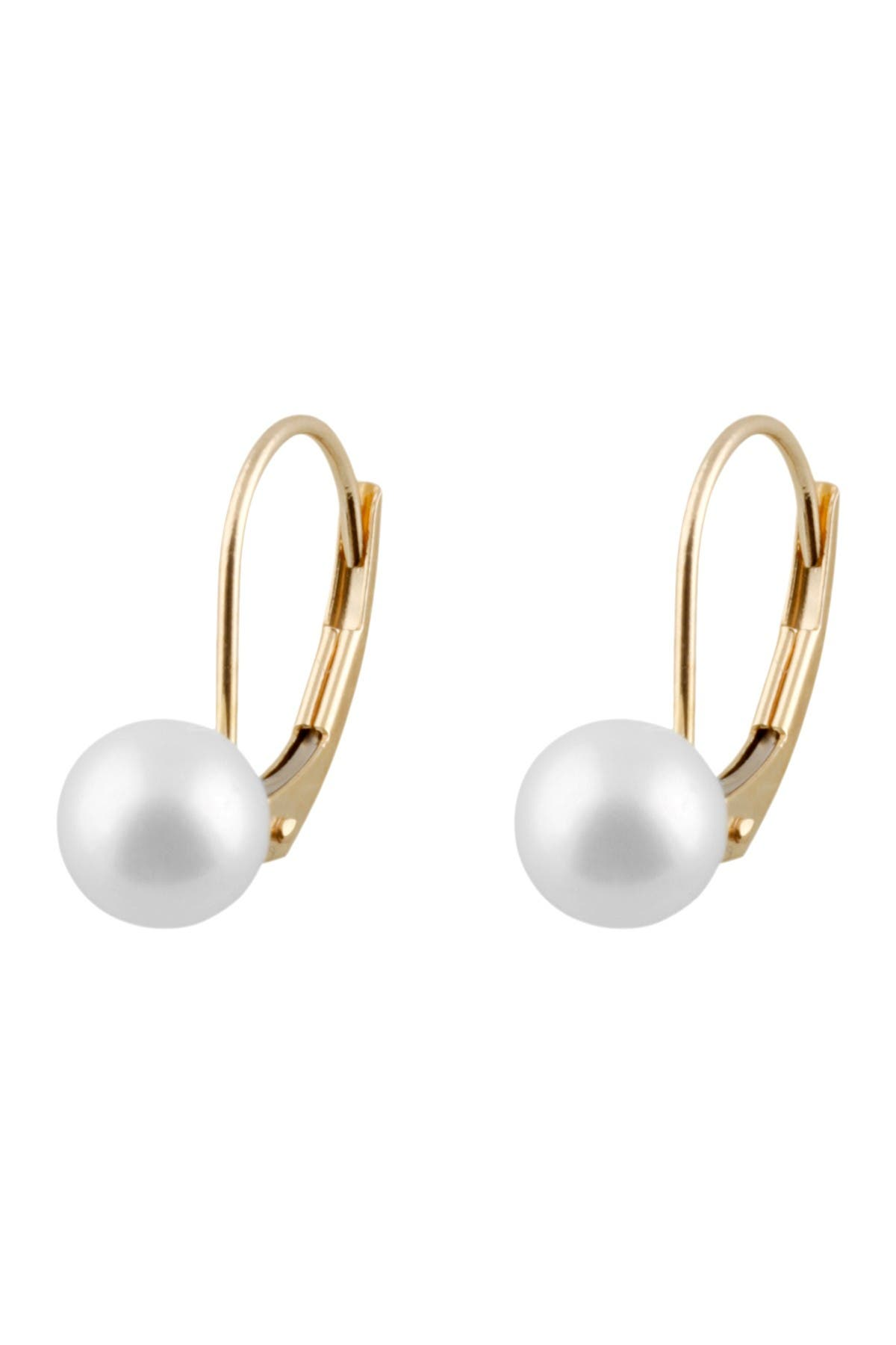 Image of Splendid Pearls 14K Yellow Gold 6-6.5mm Cultured Freshwater Pearl Earrings