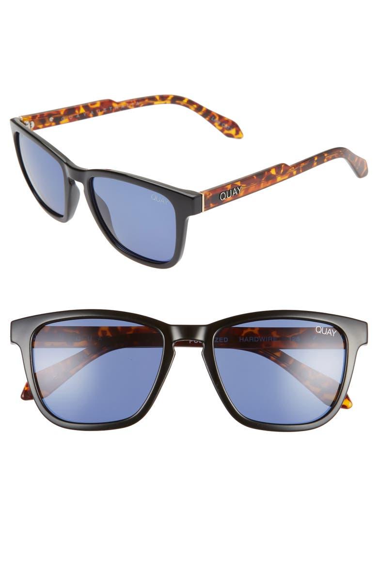QUAY AUSTRALIA Hardwire 54mm Sunglasses, Main, color, BLACK TORTOISE/ NAVY
