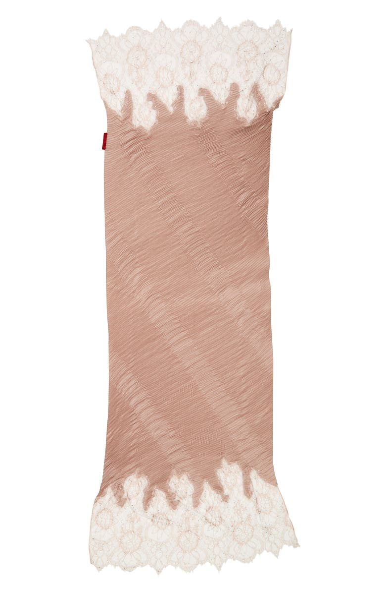 VALENTINO Lace Trim Plissé Scarf, Main, color, WILD ROSE/ WILD ROSE