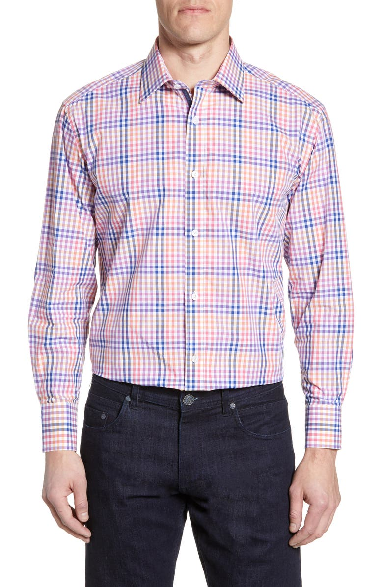 ENGLISH LAUNDRY Trim Fit Check Dress Shirt, Main, color, PURPLE