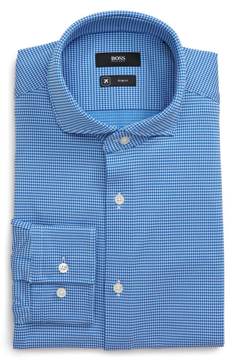 BOSS Jason Slim Fit Stretch Check Dress Shirt, Main, color, BLUE