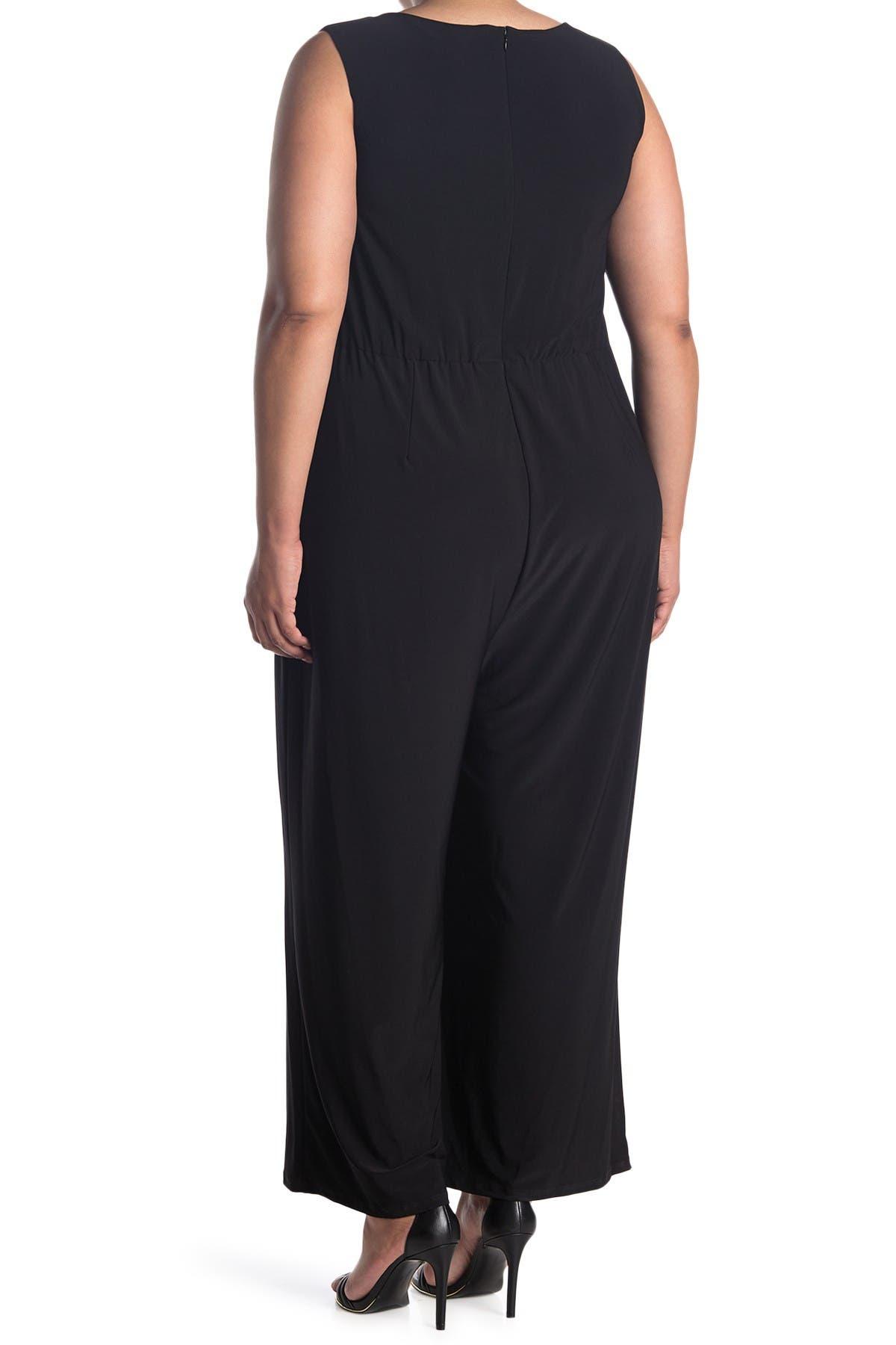 Image of Donna Ricco Criss Cross Waist Sleeveless Jumpsuit