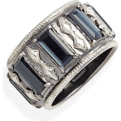 Armenta New World Hematite & Quartz Doublet Band Ring