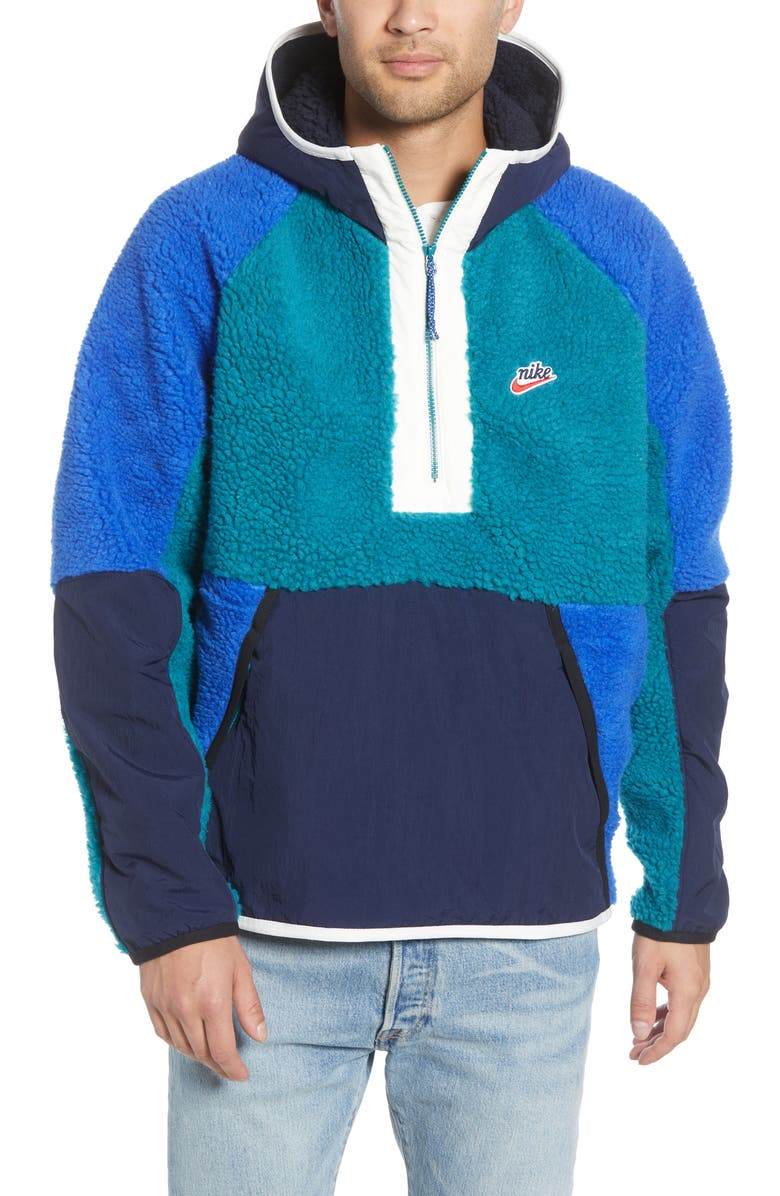 NIKE Half Zip Hooded Pullover, Main, color, GEODE TEAL/ OBSIDIAN