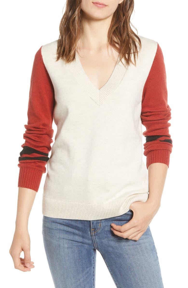 TREASURE & BOND Stripe V-Neck Sweater, Main, color, BEIGE OATMEAL- RED COMBO