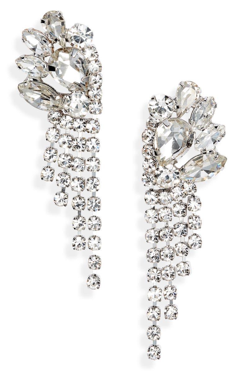CRISTABELLE Crystal Mini Fringe Drop Earrings, Main, color, CRYSTAL/ RHODIUM