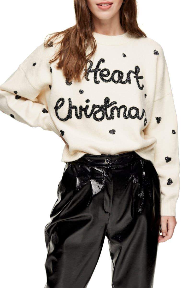TOPSHOP I Heart Christmas Sweater, Main, color, 900