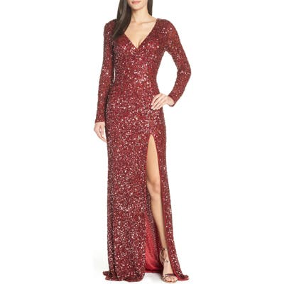 MAC Duggal Sequin Slit Dress, Burgundy