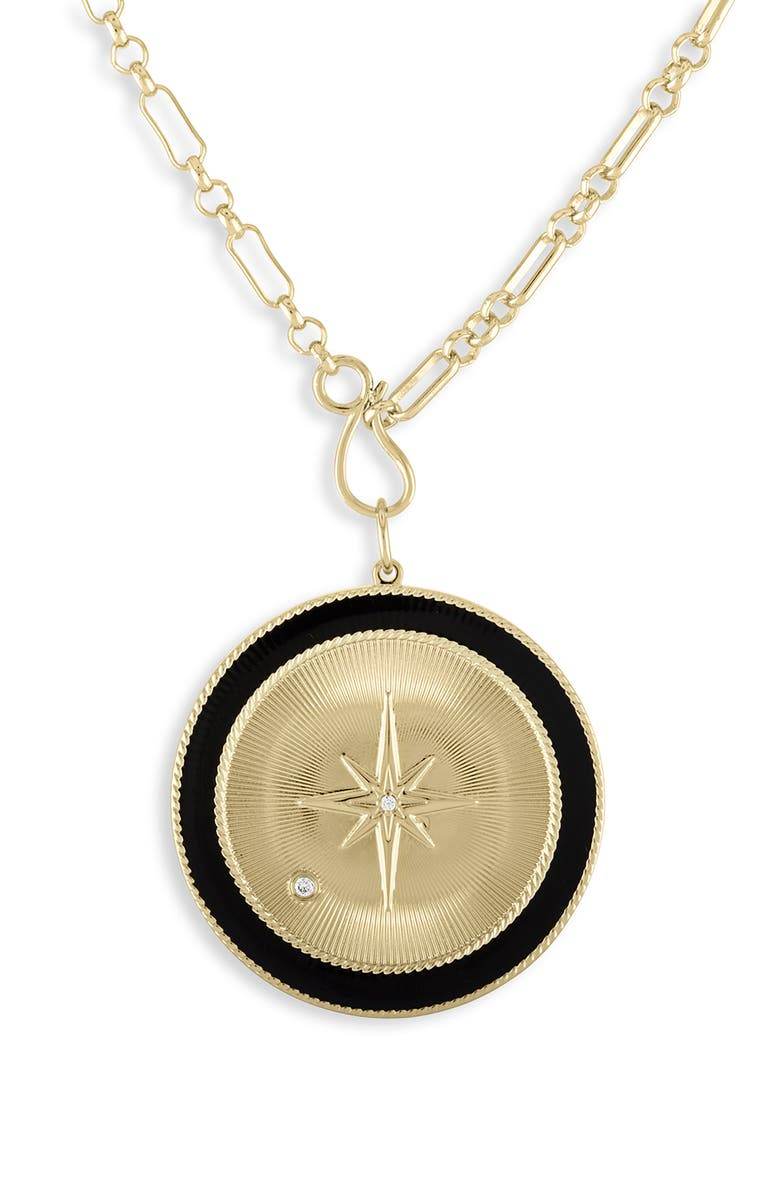 LULU DK Black Star Medallion Pendant Necklace, Main, color, 001