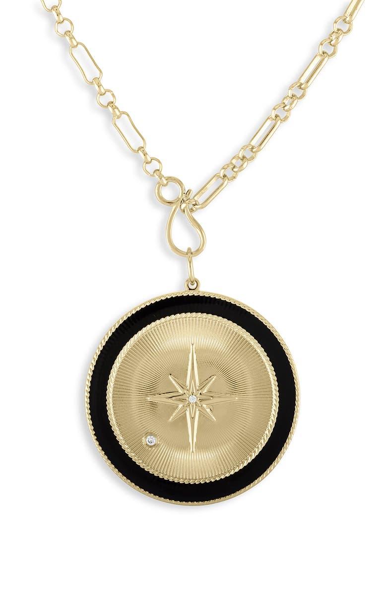 LULU DK Black Star Medallion Pendant Necklace, Main, color, BLACK